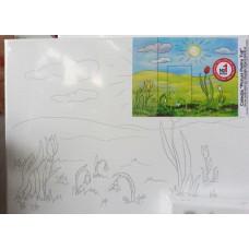 Peisaj camp pre pictat 22 x 30